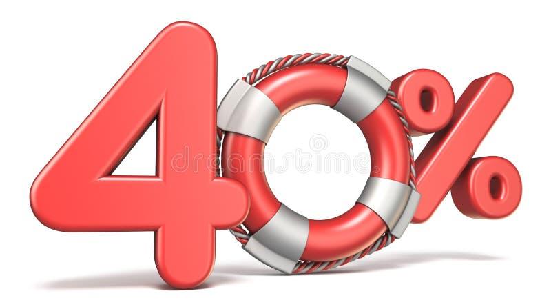 Reddingsboei 40 3D percententeken royalty-vrije illustratie