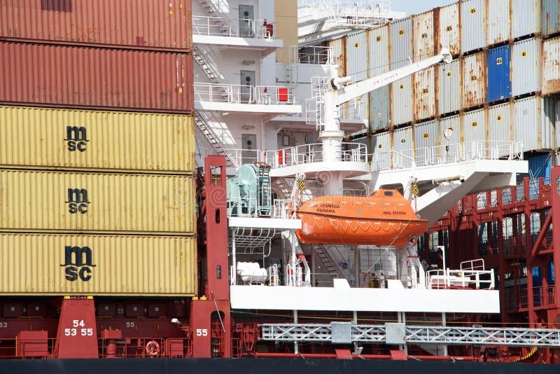 Reddingsboot aan boord van Vrachtschipdoctorandus in de exacte wetenschappen BRUNELLA royalty-vrije stock fotografie