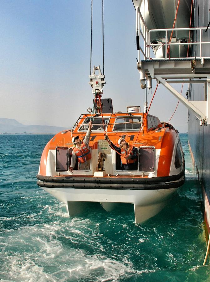 Reddingsboot op lijnboot stock fotografie