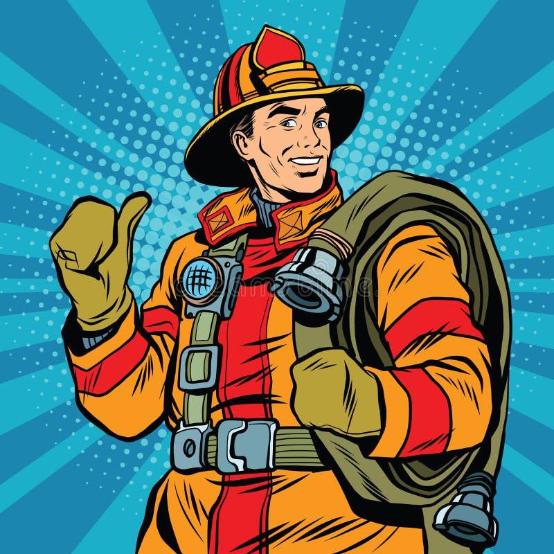 Reddingsbrandbestrijder in veilige helm en eenvormig pop-art vector illustratie