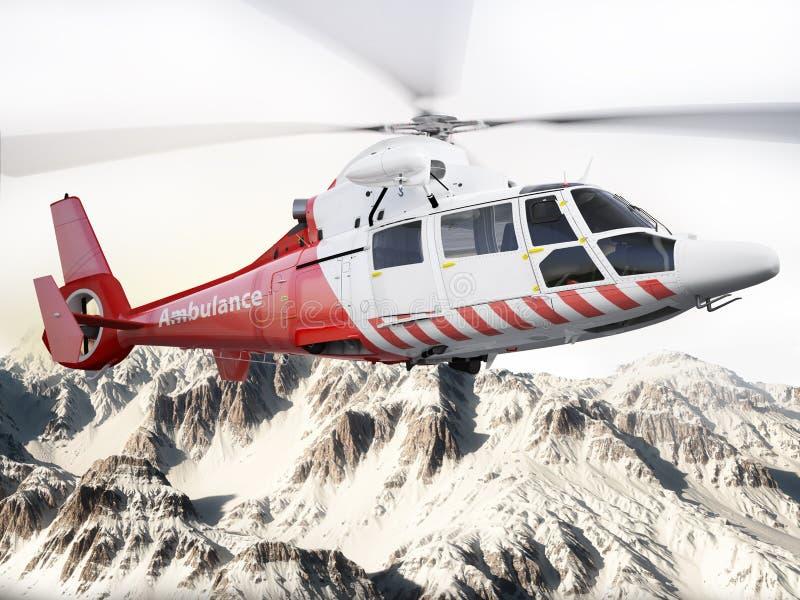 Reddingshelikopter tijdens de vlucht over sneeuw afgedekte bergen vector illustratie