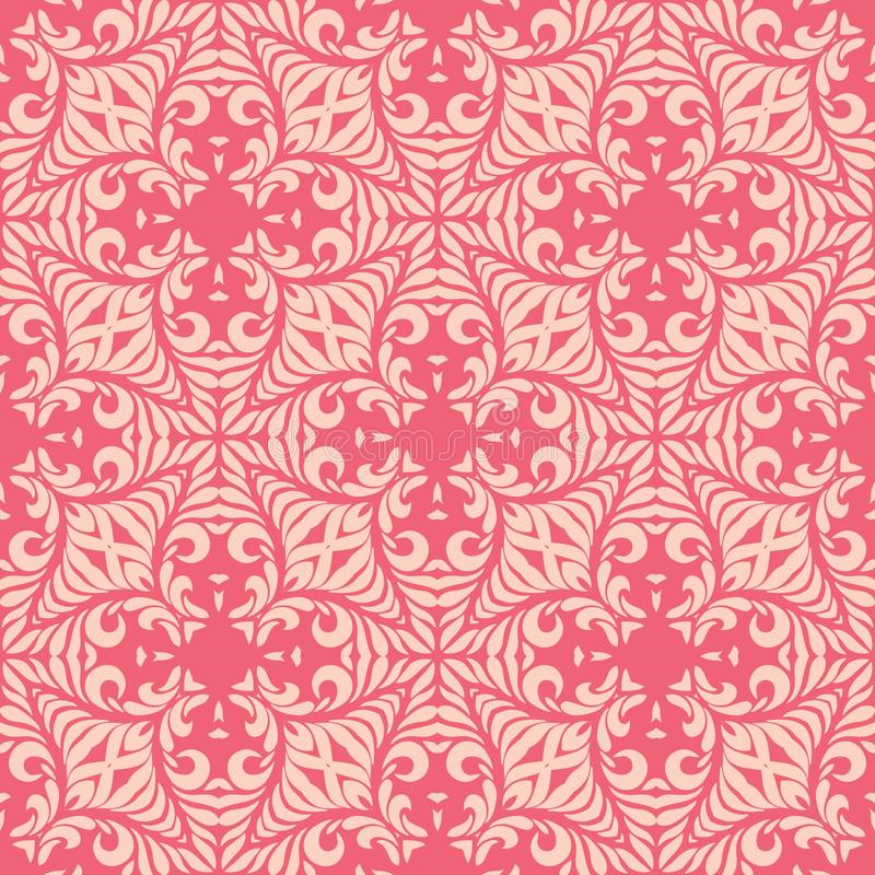 Reddish pink base with leafy petals seamless pattern background illustration. Seamless background pattern for use in fabrics , web backgrounds , art , styling stock illustration
