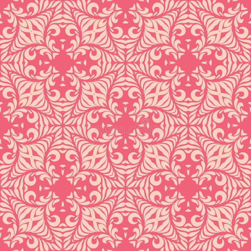 Reddish pink base with leafy petals seamless pattern background illustration stock illustration