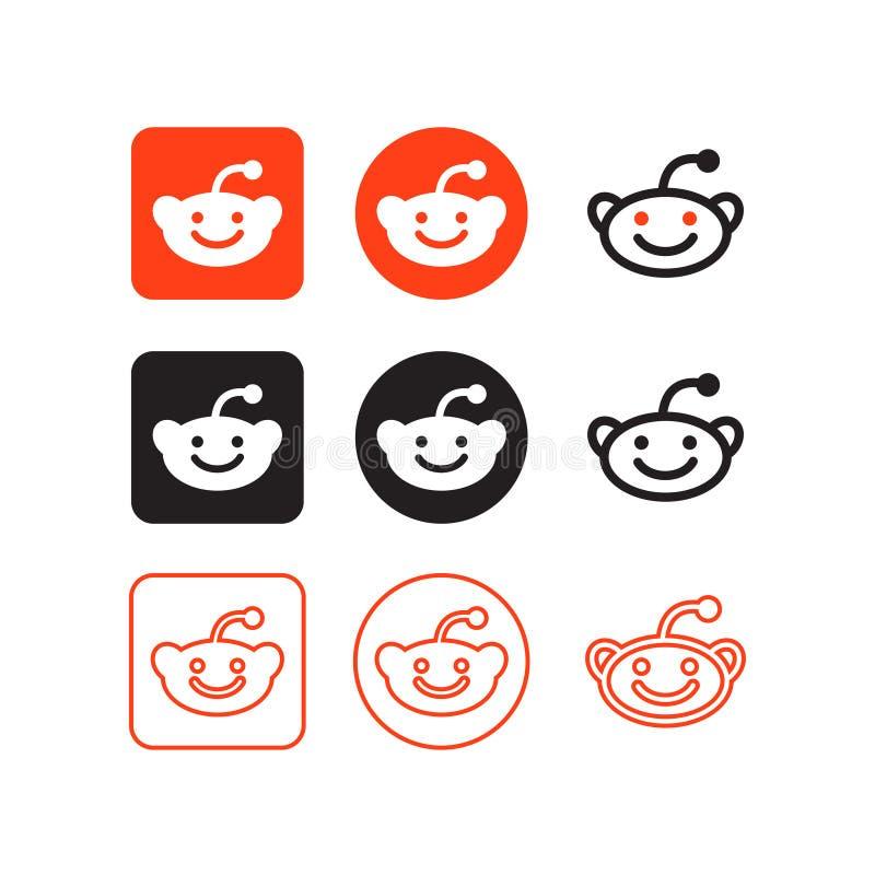 Reddit-Social Media-Ikonen lizenzfreie abbildung