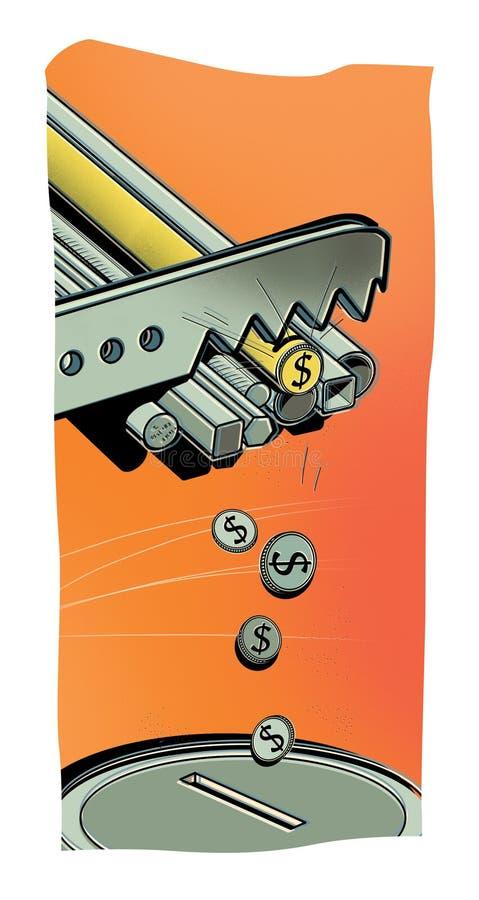 Redditi dall'industria metallurgica La sega taglia i tubi del metallo sulle monete del dollaro Le monete sono piegate con un porc royalty illustrazione gratis