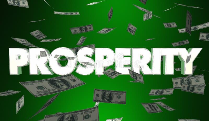 Reddito di caduta Rich Wealth 3d Illustrat dei guadagni dei soldi di prosperità illustrazione di stock