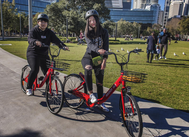 Reddy Go Hire Bicycles new to Sydney, Australia. Reddy Go hire bicycles have arrived in Sydney, Australia and are popular with tourist and temporary visitors to royalty free stock photos