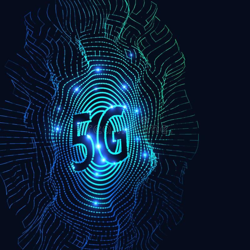 Rede abstrata da conexão a Internet do fundo 5G Conceito de alta velocidade global da rede ilustração royalty free