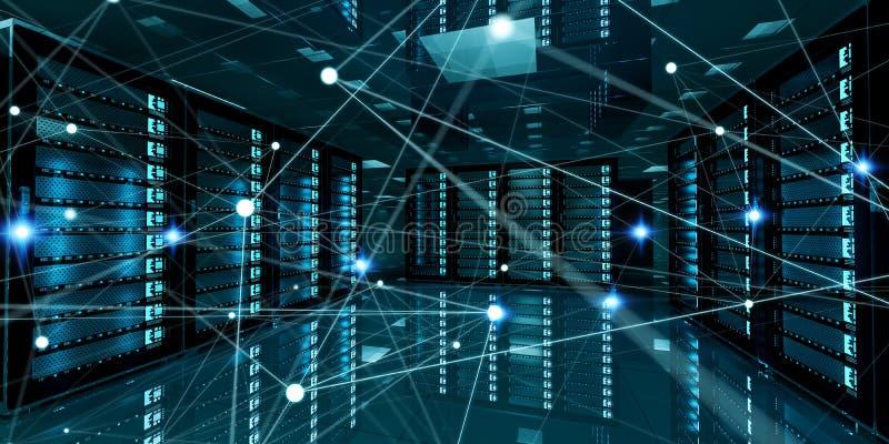 Rede abstrata na rendição do centro de dados 3D da sala do servidor ilustração do vetor
