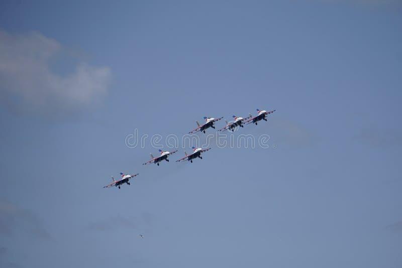 Rede avagruppy am airshow stockfotografie