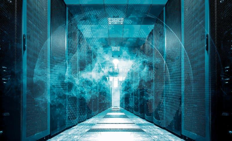 Rede branca da terra de Digitas que voa sobre o centro de dados da sala do servidor ilustração do vetor