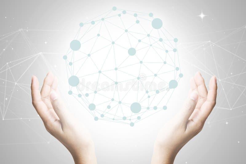 Rede conectada e social do mundo da tecnologia do negócio do conceito foto de stock royalty free