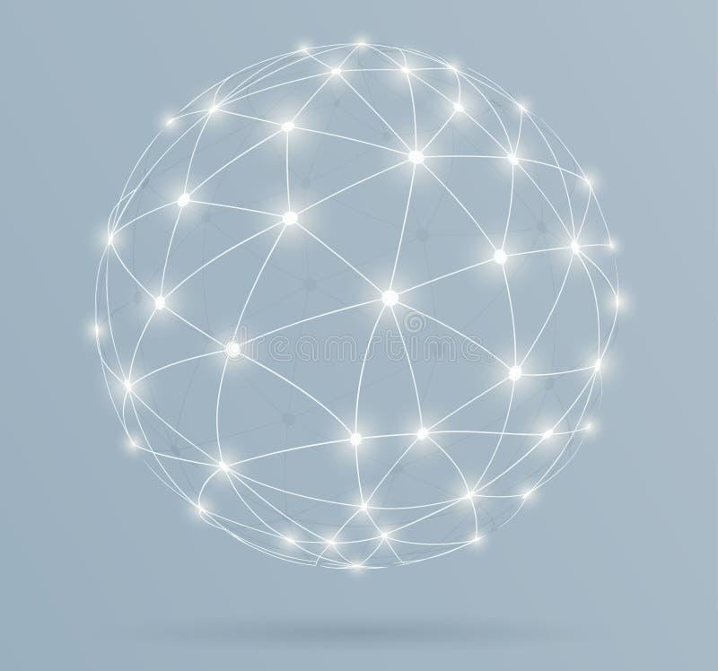 A rede, conexões digitais globais com a incandescência alinha