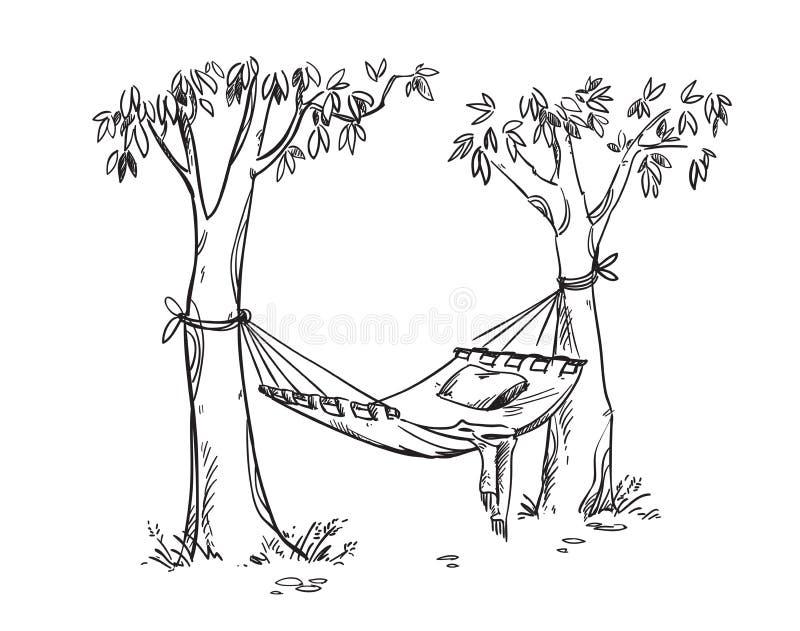 Rede confortável em um jardim Desenho do linr do vetor ilustração do vetor