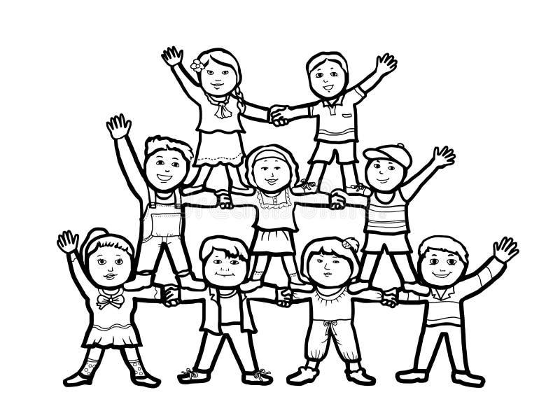 Rede da amizade dos trabalhos de equipa das crianças do grupo ilustração do vetor