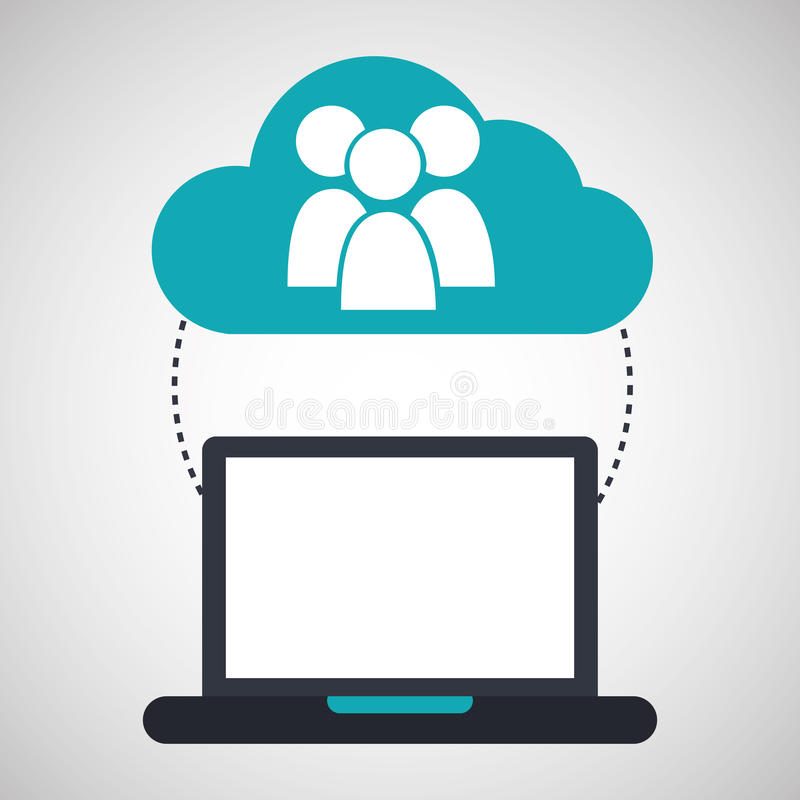 Rede da conexão do grupo da nuvem do computador ilustração royalty free