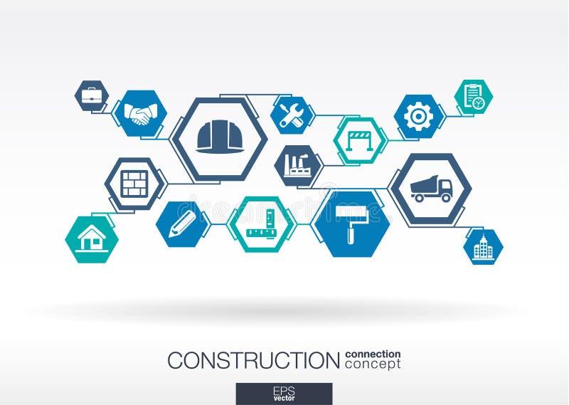 Rede da construção Fundo abstrato do hexágono ilustração stock