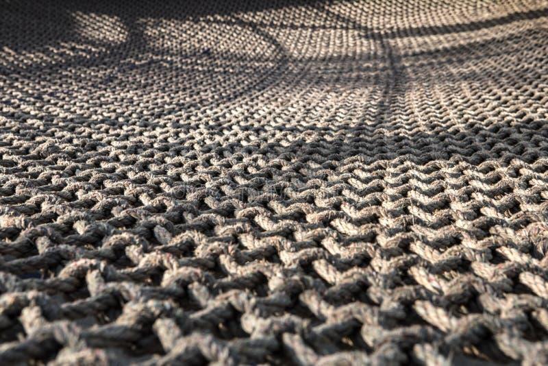 Rede da corda com os nós isolados fotografia de stock