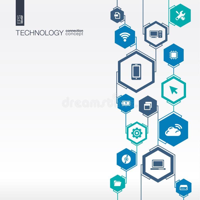 Rede da tecnologia Fundo abstrato do hexágono ilustração stock