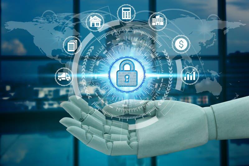 Rede da terra arrendada da mão do robô usando o cadeado sobre a tecnologia da conexão de rede, inteligência financeira do inv imagens de stock royalty free