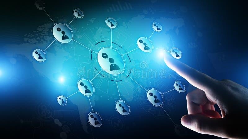 Rede das relações dos povos na tela virtual Uma comunicação do cliente e conceito social dos meios ilustração do vetor