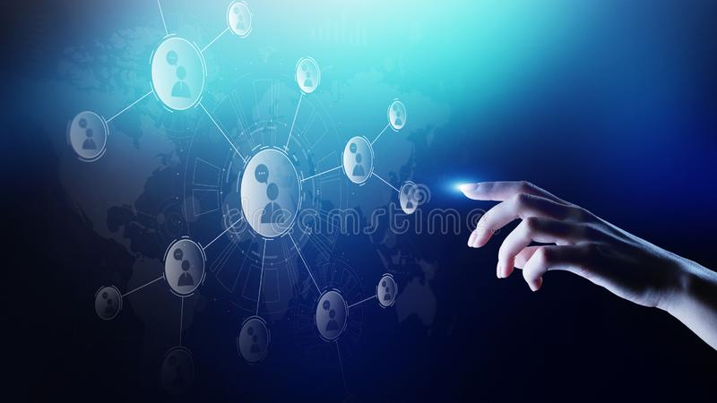 Rede das relações dos povos na tela virtual Uma comunicação do cliente e conceito social dos meios ilustração stock