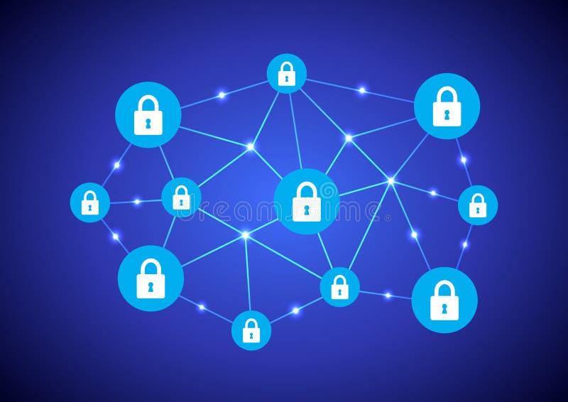 Rede de Blockchain ilustração stock