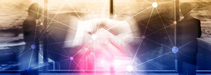 Rede de Blockchain no fundo borrado dos arranha-céus Conceito financeiro da tecnologia e da comunicação imagens de stock