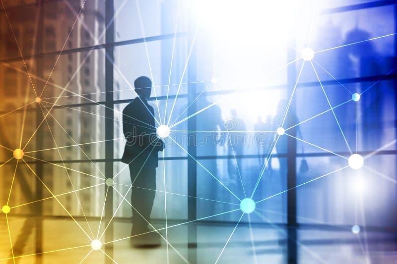 Rede de Blockchain no fundo borrado dos arranha-céus Conceito financeiro da tecnologia e da comunicação ilustração stock