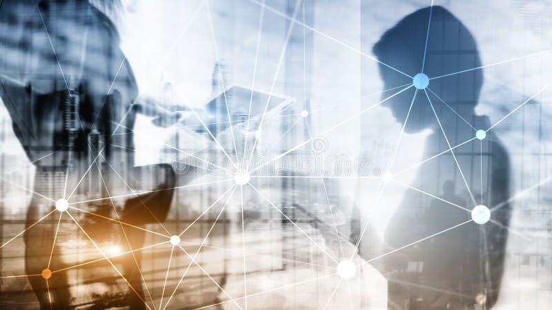 Rede de Blockchain no fundo borrado dos arranha-céus Conceito financeiro da tecnologia e da comunicação ilustração royalty free