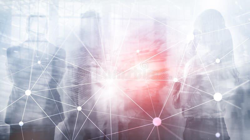 Rede de Blockchain no fundo borrado dos arranha-céus Conceito financeiro da tecnologia e da comunicação fotografia de stock
