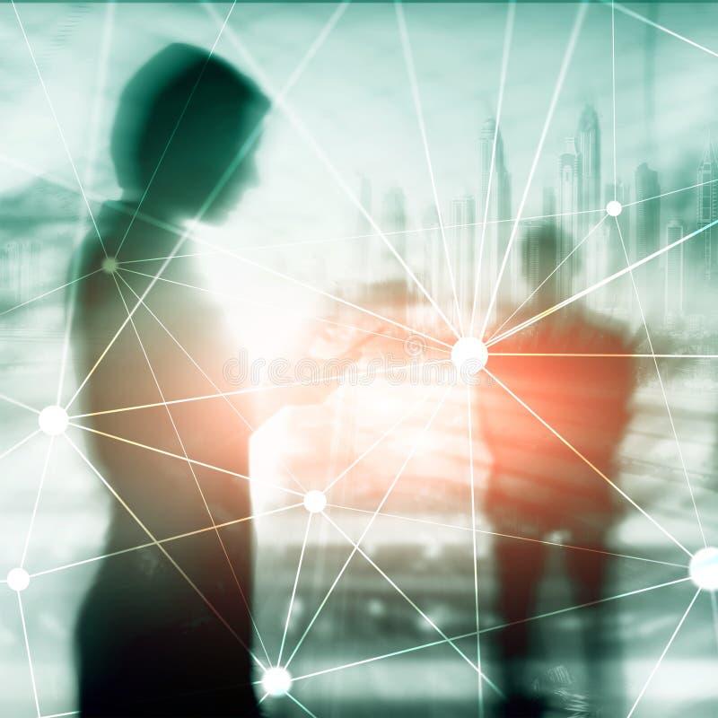 Rede de Blockchain no fundo borrado dos arranha-c?us Conceito financeiro da tecnologia e da comunica??o ilustração do vetor