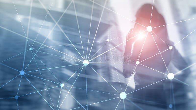 Rede de Blockchain no fundo borrado dos arranha-c?us Conceito financeiro da tecnologia e da comunica??o fotografia de stock