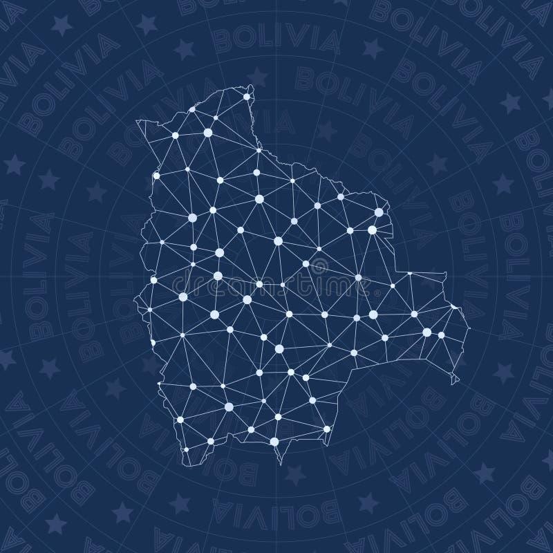Rede de Bolívia, mapa do país do estilo da constelação ilustração do vetor