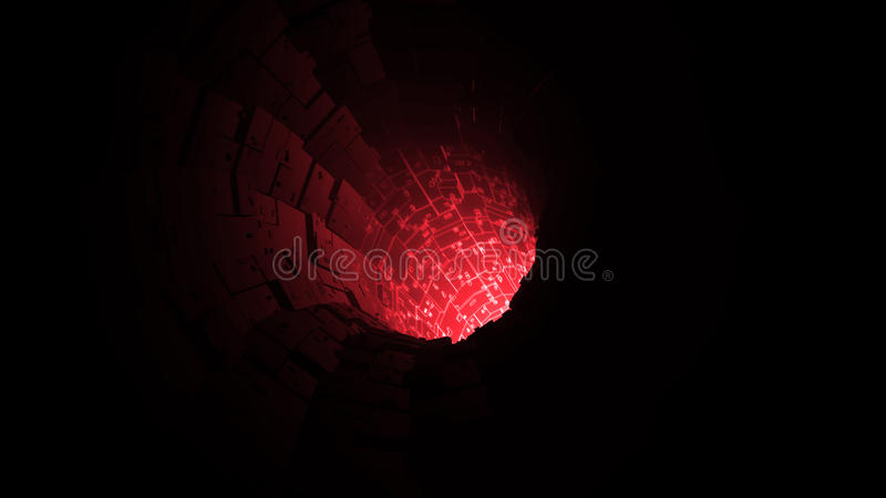 A rede de cabo digital vermelha conecta o fundo do túnel, rendição 3d ilustração royalty free