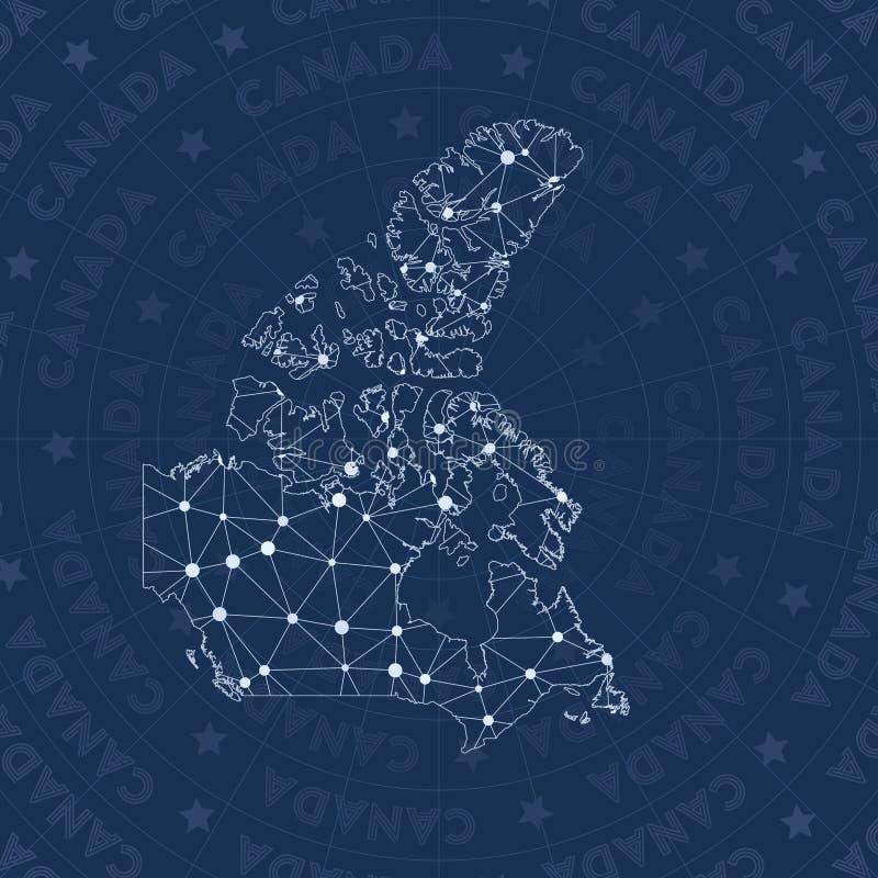 Rede de Canadá, mapa do país do estilo da constelação ilustração stock