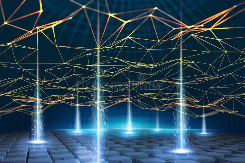 A rede de informação global é baseada na tecnologia de Blockchain Conceito visual do processo de dados e do armazenamento Databas ilustração stock