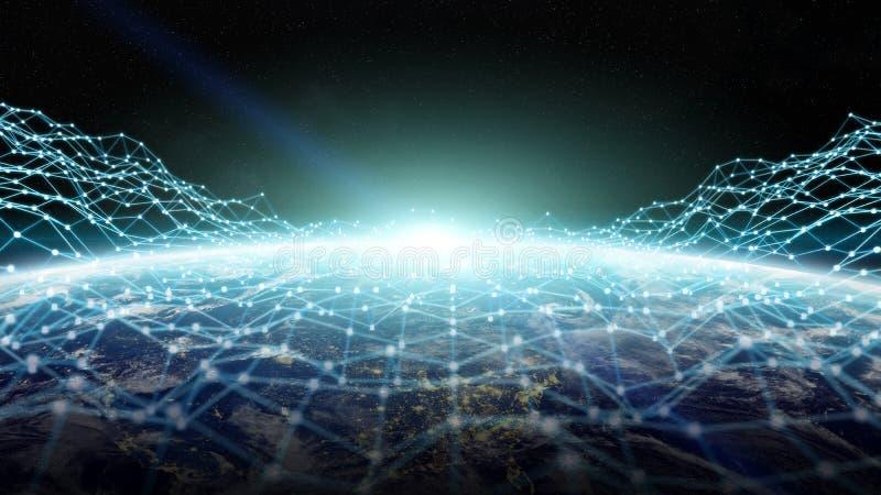 Rede de intercâmbio de dados e global sobre a rendição do mundo 3D ilustração stock