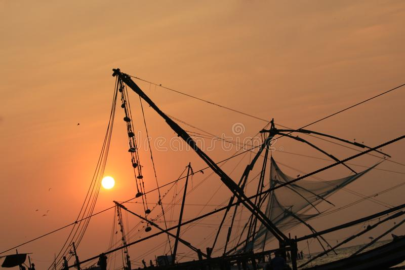 Rede de pesca especial de Kerala imagens de stock