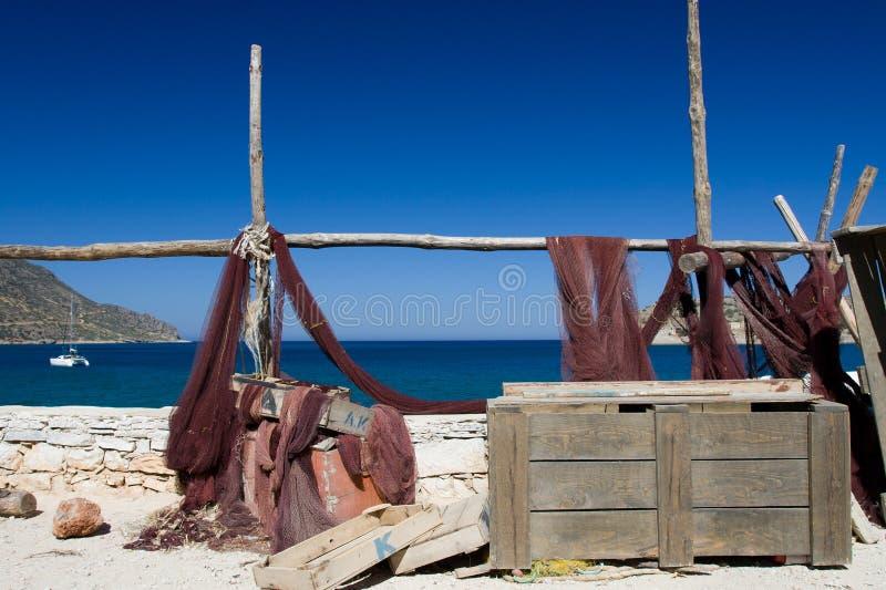 Rede de pesca marinha pitoresca da paisagem no mar fotos de stock royalty free