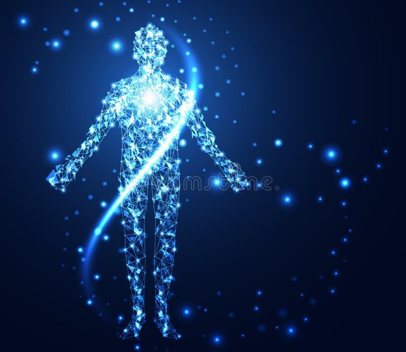 Rede digital humana da relação do conceito abstrato da tecnologia olá! em técnico ilustração do vetor