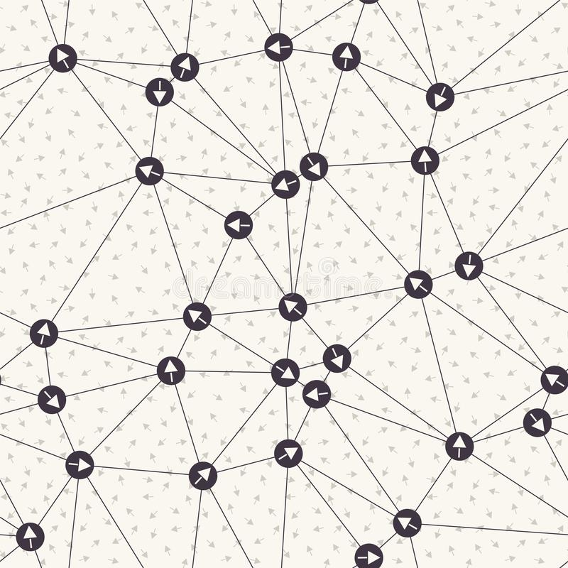 Rede direcional do ponto da seta Fundo do ponteiro da Web Amostra de folha líquida do conceito de uma comunicação monocromática P ilustração royalty free