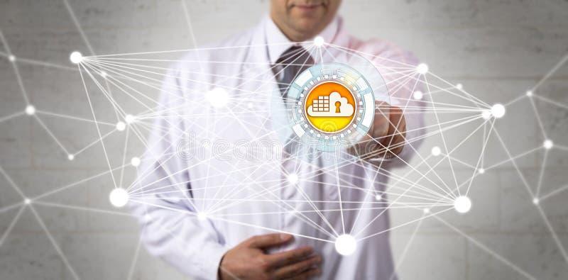 Rede do Cyber do doutor Of Science Accessing foto de stock