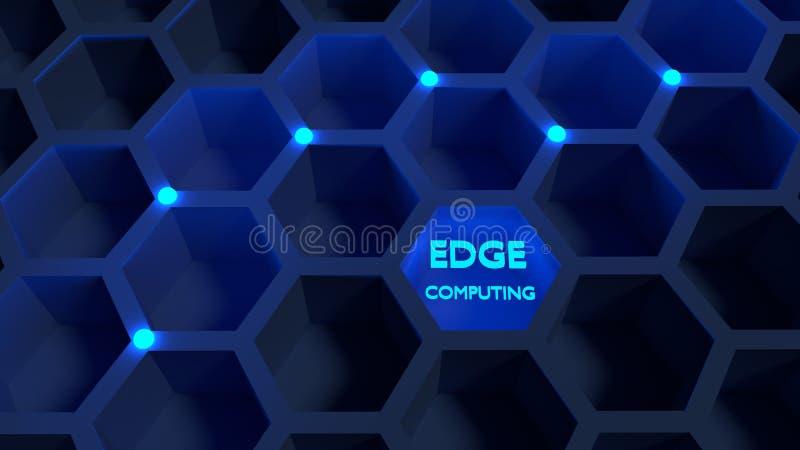 A rede do favo de mel connosco de incandescência azuis afia o conceito de computação ilustração royalty free