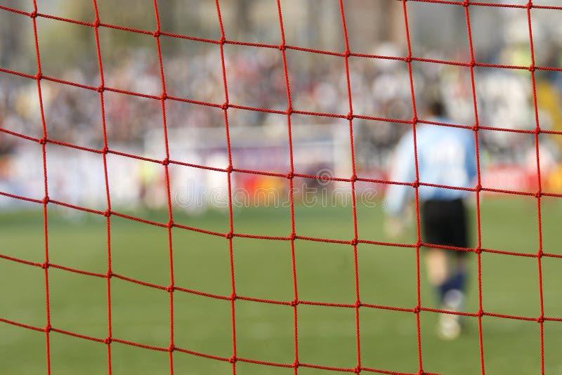 Rede do objetivo do futebol do futebol fotos de stock royalty free