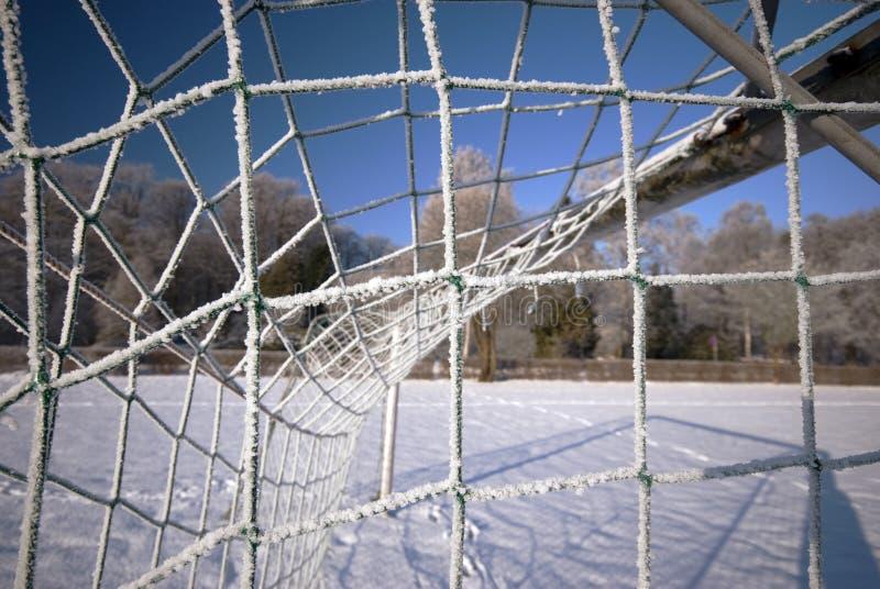 Rede do objetivo do inverno do futebol imagem de stock