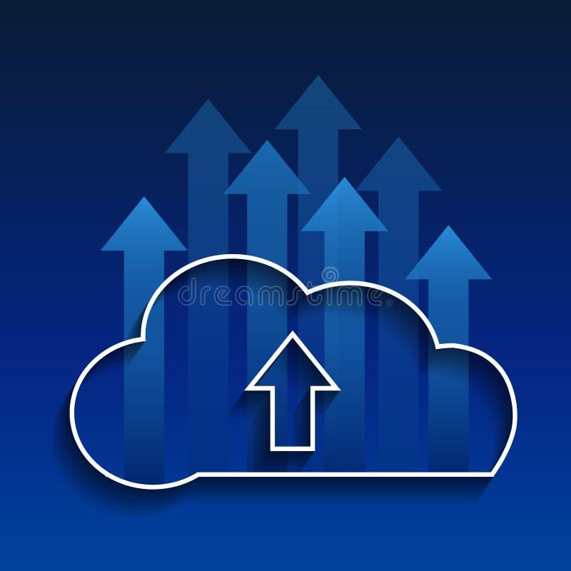 Rede do social da nuvem da Computar-transferência de arquivo pela rede da nuvem ilustração royalty free