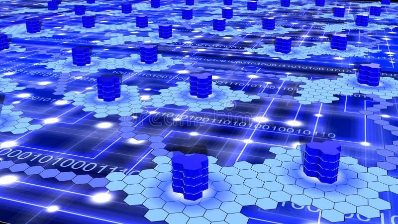 Rede do super-computador do hexágono no azul ilustração royalty free