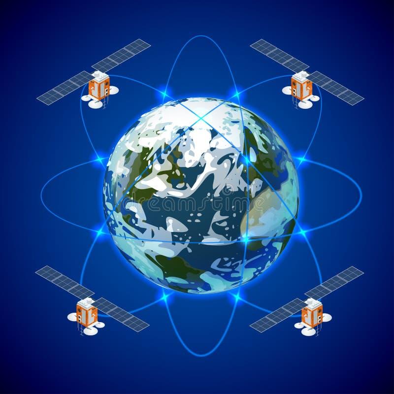 Rede e de intercâmbio de dados satélite sobre a terra do planeta no espaço Satélite de GPS ilustração royalty free