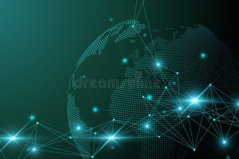 Rede e de intercâmbio de dados sobre a terra do planeta no espaço Uma comunicação gráfica virtual do fundo com o globo do mundo